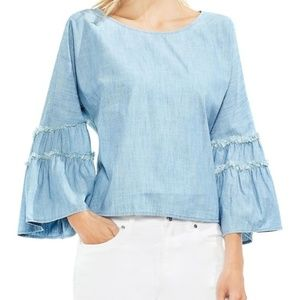 VINCE CAMUTO Ruffle Bell Sleeve Chambray Blouse